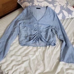 Blue denim wash ruched drawstring top